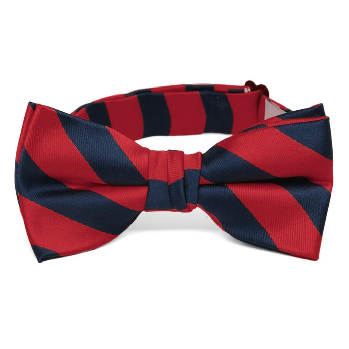Boys' Red and Navy Blue Striped Bow Tie
