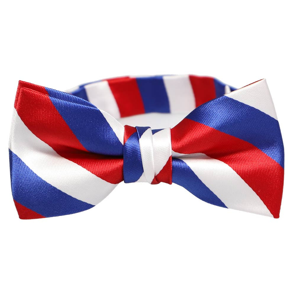Boys' Red, White and Blue Striped Bow Tie