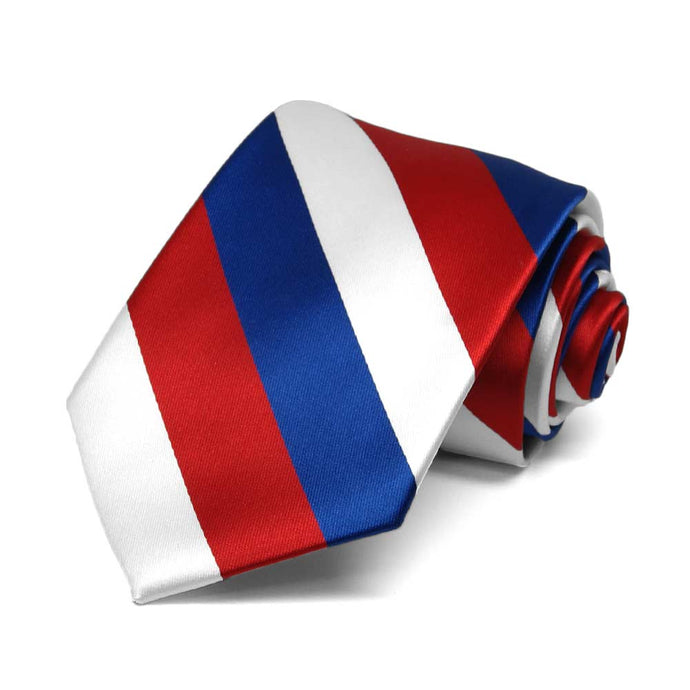 Boys' Red, White and Blue Striped Tie