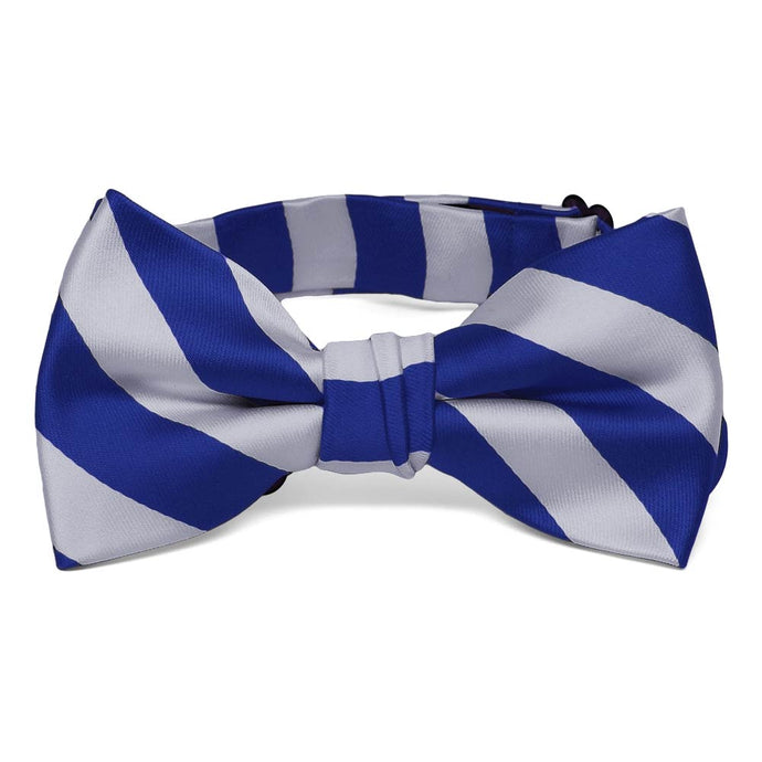 Boys' Royal Blue and Silver Striped Bow Tie