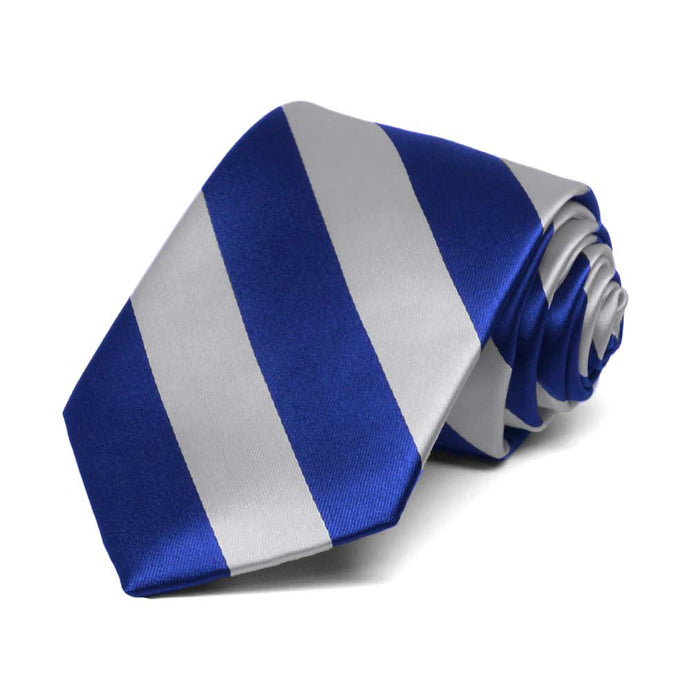 Boys' Royal Blue and Silver Striped Tie