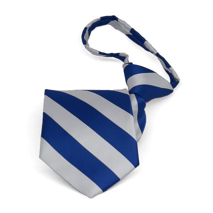 Boys' Royal Blue and Silver Striped Zipper Tie