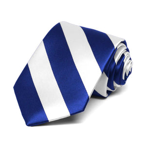 Boys' Royal Blue and White Striped Tie