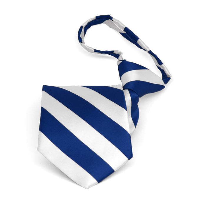 Boys' Royal Blue and White Striped Zipper Tie