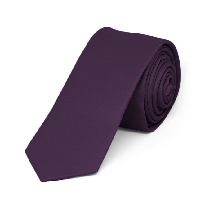 Boys' Royal Plum Skinny Solid Color Necktie, 2