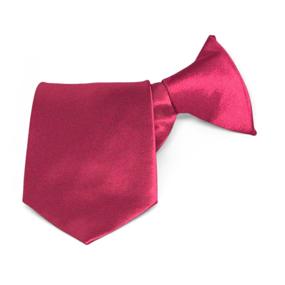 Boys' Ruby Red Solid Color Clip-On Tie