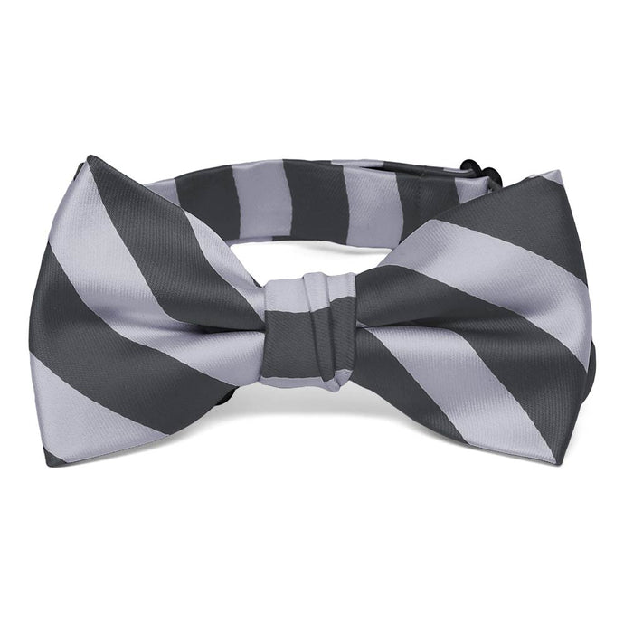 Boys' Silver and Dark Gray Striped Bow Tie