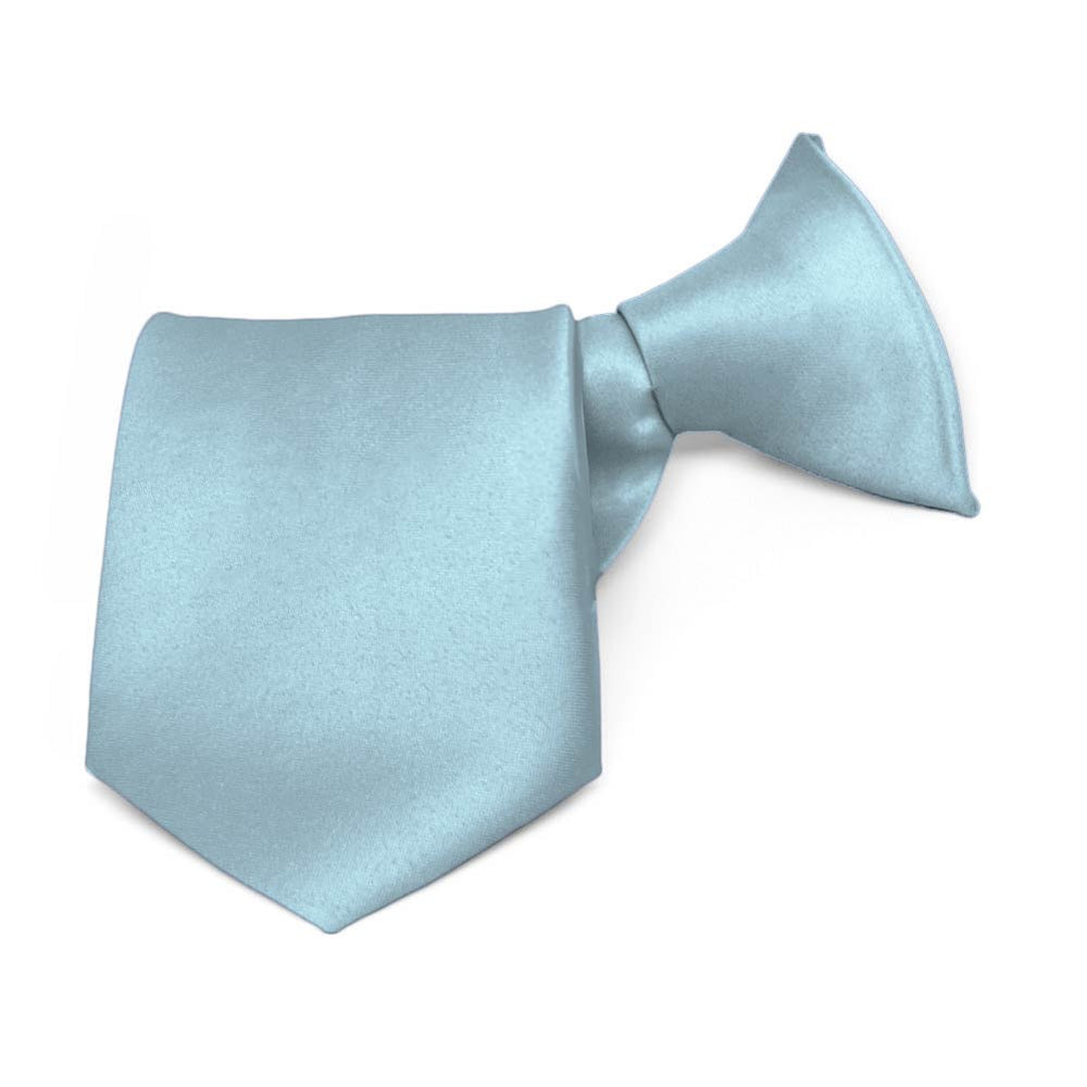 Boys' Sky Blue Solid Color Clip-On Tie, 11