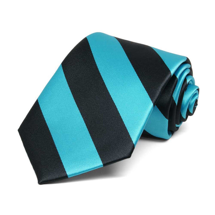 Boys' Turquoise and Black Striped Tie