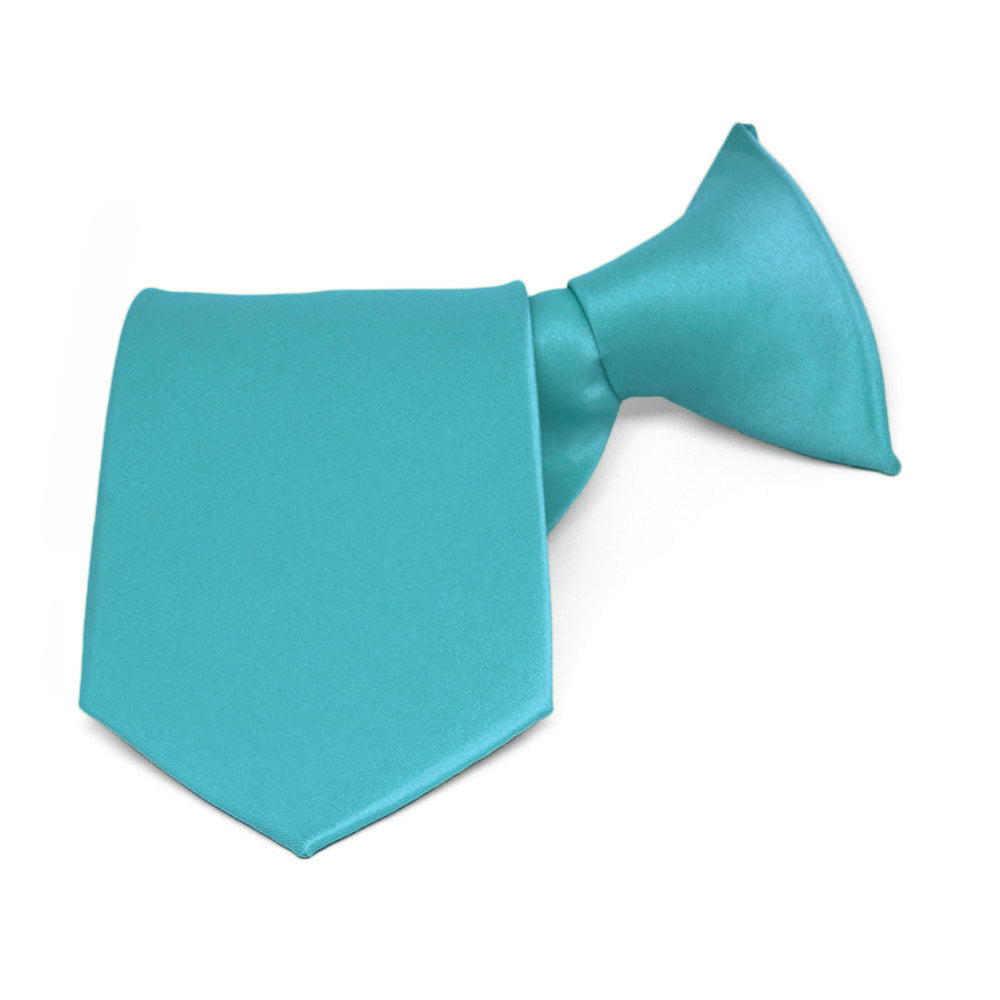 Boys' Turquoise Solid Color Clip-On Tie