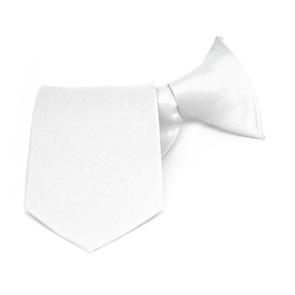 Boys' White Solid Color Clip-On Tie