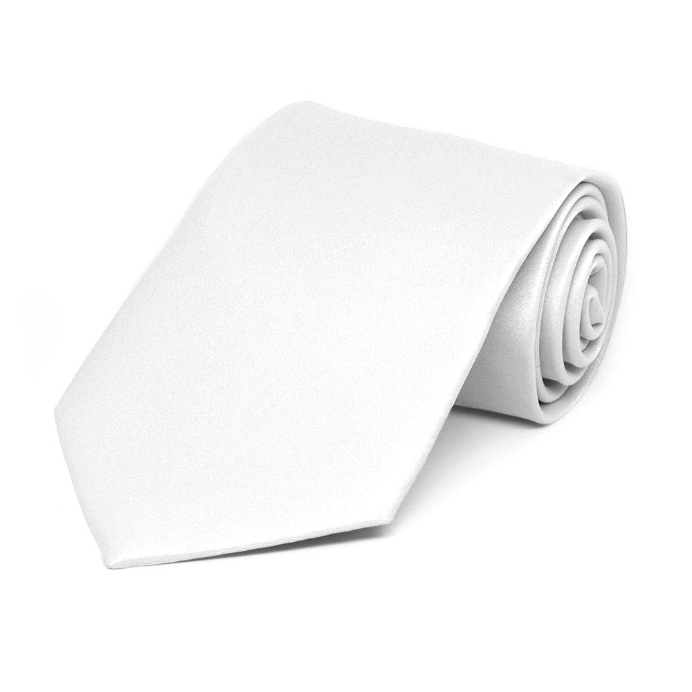 Boys' White Solid Color Necktie