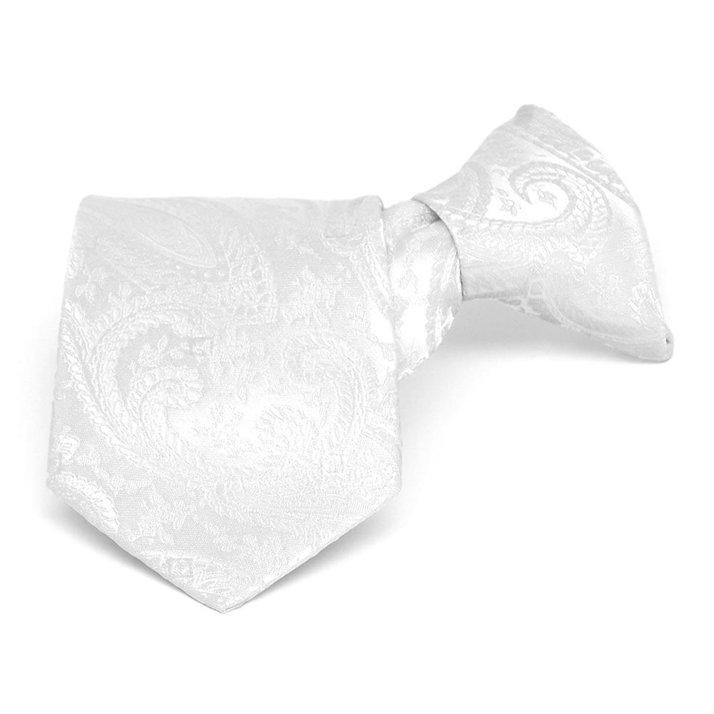 Boys' White Clara Paisley Clip-On Tie