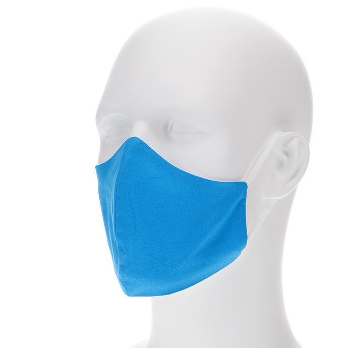 Bright blue face mask on a mannequin with filter pocket