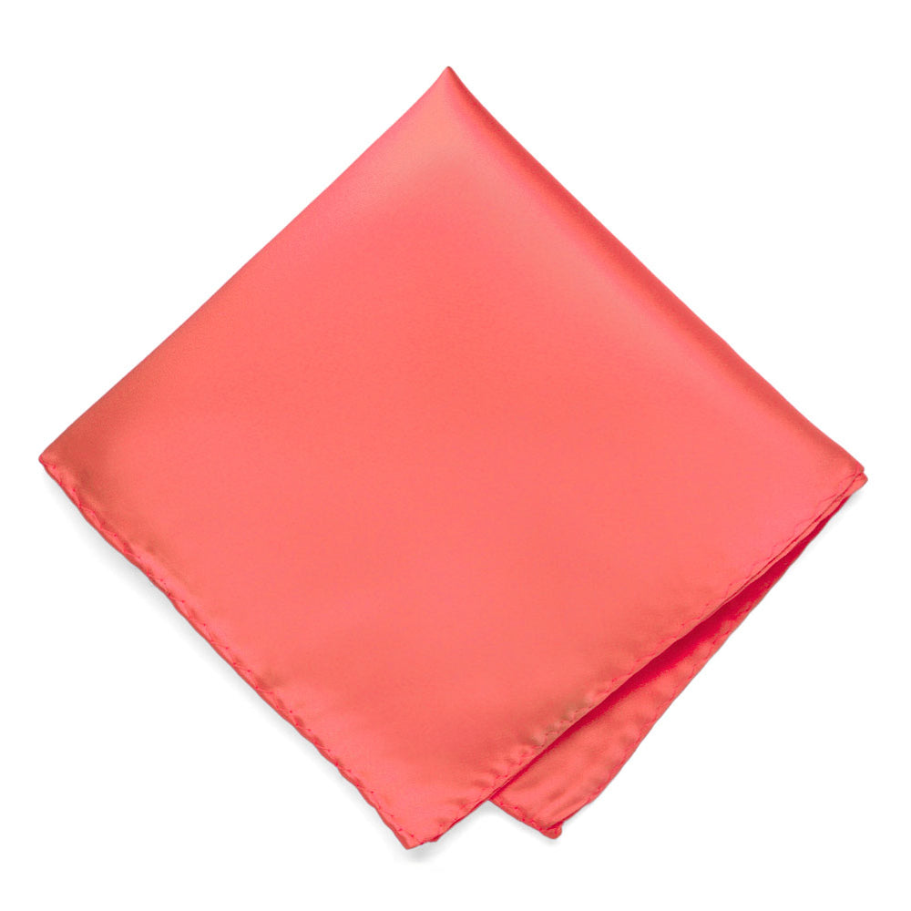 Bright Coral Premium Pocket Square