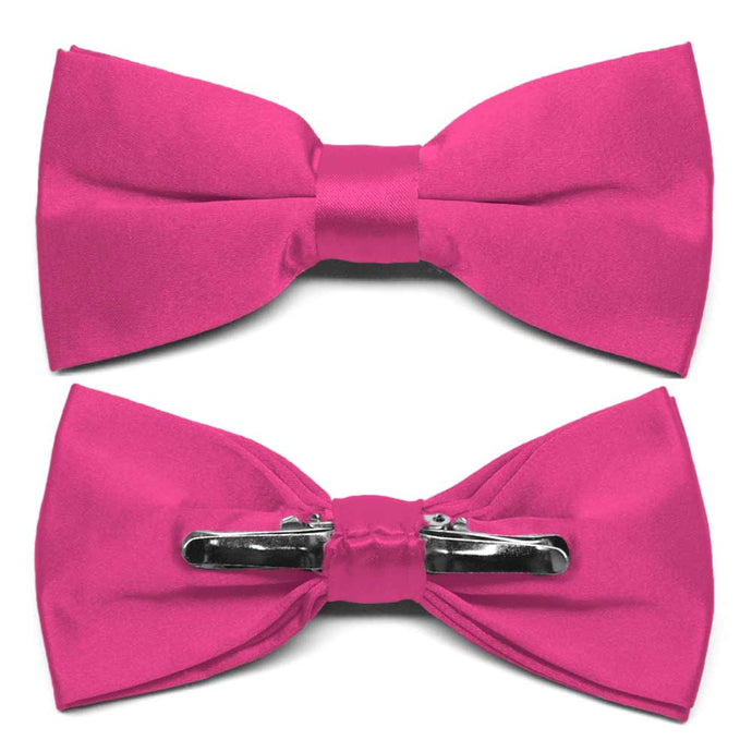 Bright Fuchsia Clip-On Bow Tie