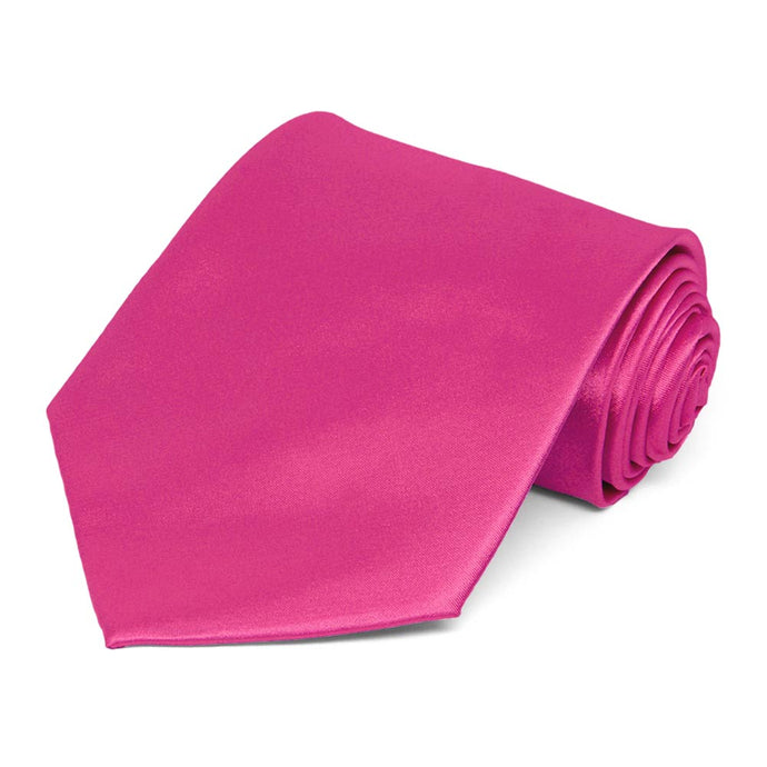 Bright Fuchsia Extra Long Solid Color Necktie