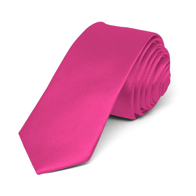 Bright Fuchsia Skinny Solid Color Necktie, 2