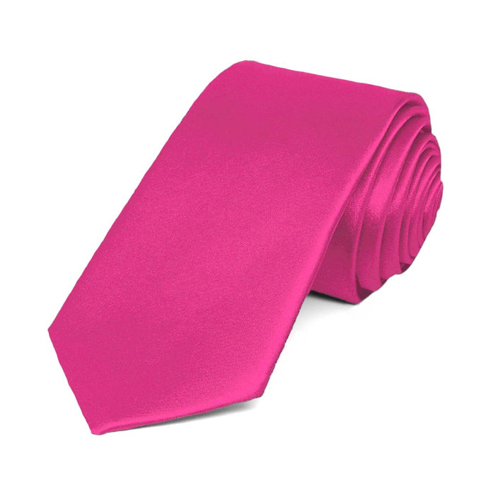 Bright Fuchsia Slim Solid Color Necktie, 2.5