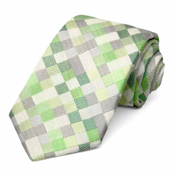 Bright Green and Gray Biologist Check Linen/Silk Necktie, 3