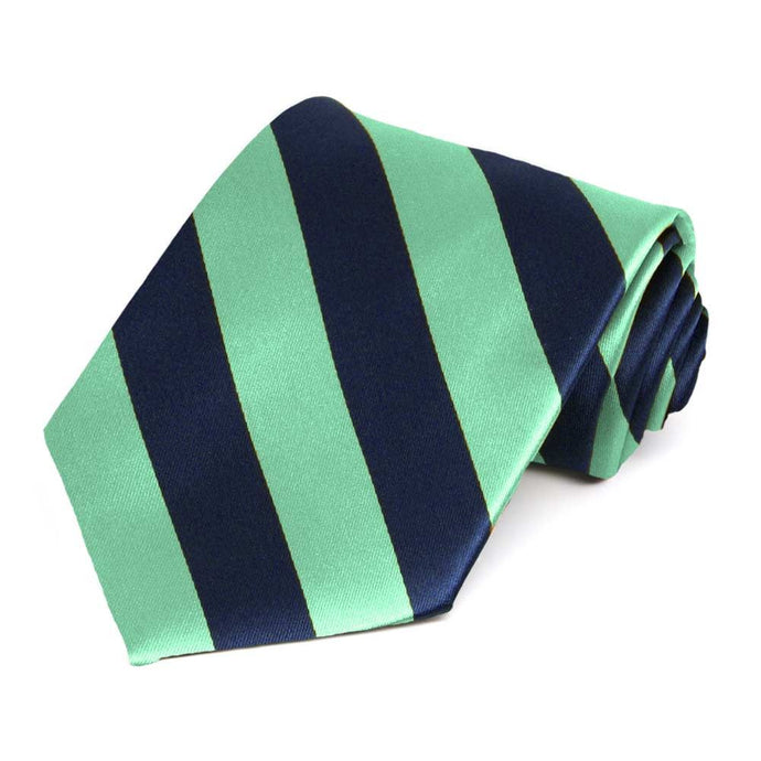 Bright Mint and Navy Blue Extra Long Striped Tie