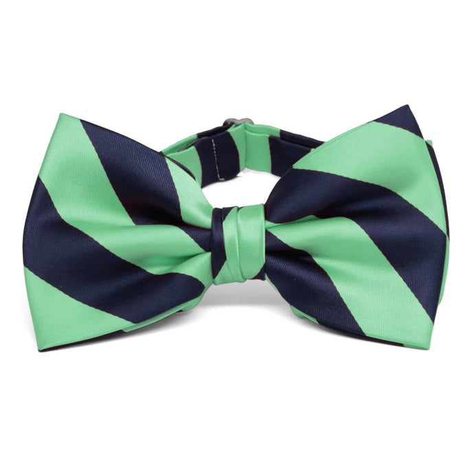 Bright Mint and Navy Blue Striped Bow Tie