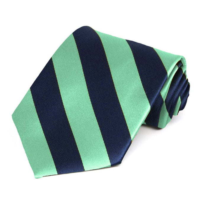 Bright Mint and Navy Blue Striped Tie