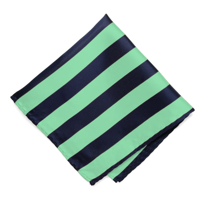 Bright Mint and Navy Blue Striped Pocket Square