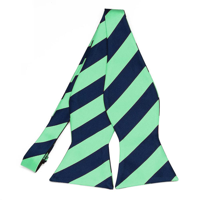 Bright Mint and Navy Blue Striped Self-Tie Bow Tie