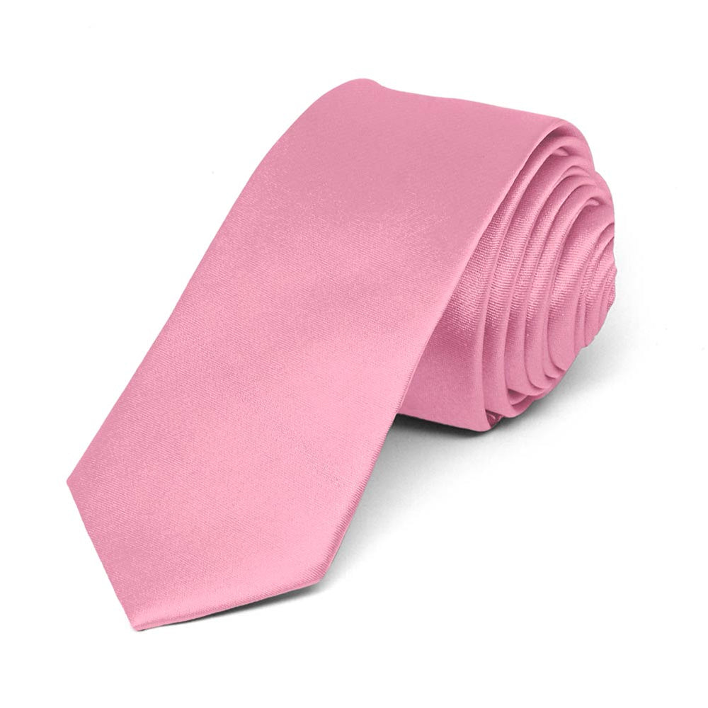 Bright Pink Skinny Solid Color Necktie, 2