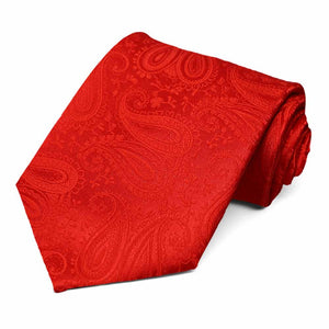 Bright red paisley pattern tie