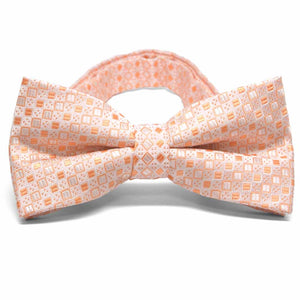 Bright Tangerine Marie Square Pattern Band Collar Bow Tie