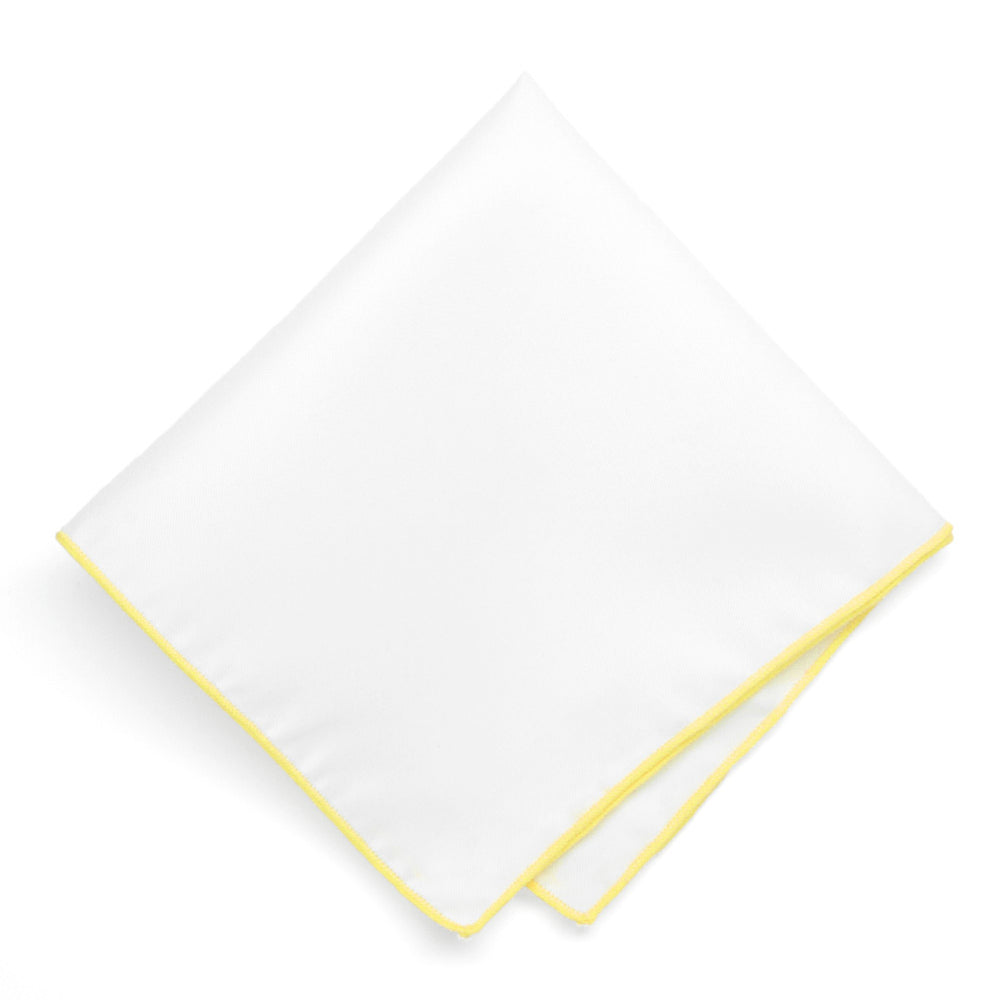 Bright Yellow Tipped White Pocket Square