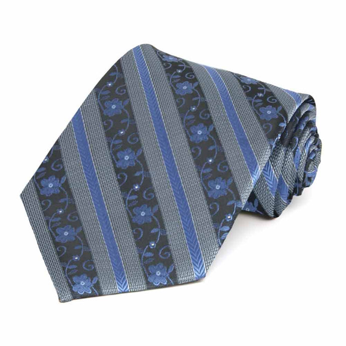 Brilliant Blue Anna Floral Stripe Extra Long Necktie