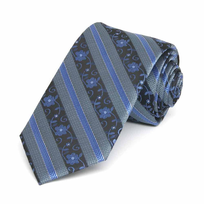 Brilliant Blue Anna Floral Stripe Slim Necktie, 2.5