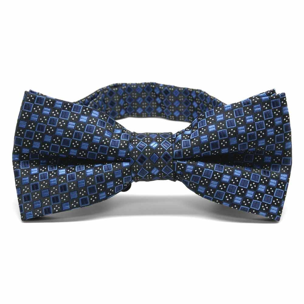 Brilliant Blue Marie Square Pattern Band Collar Bow Tie