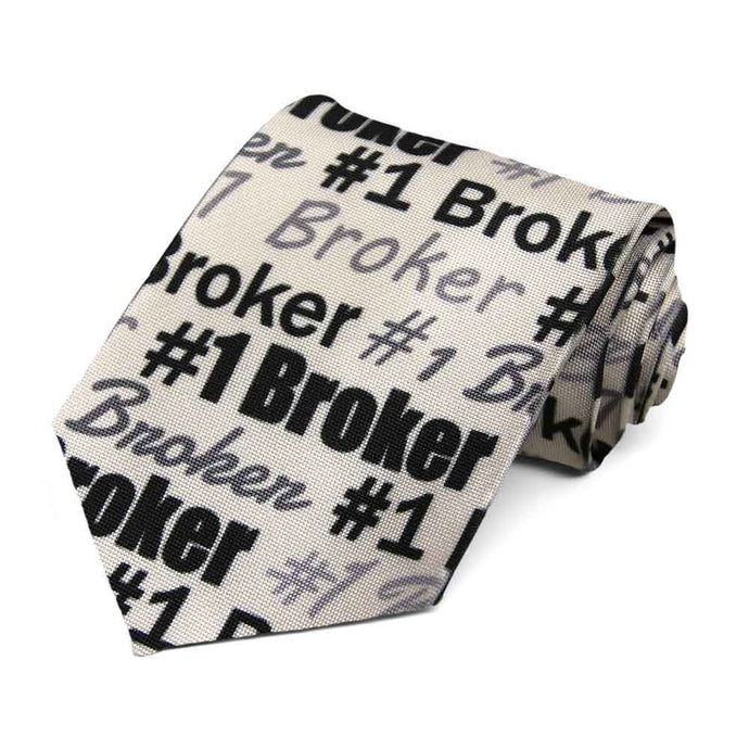 #1 broker in varying fonts on a beige tie.