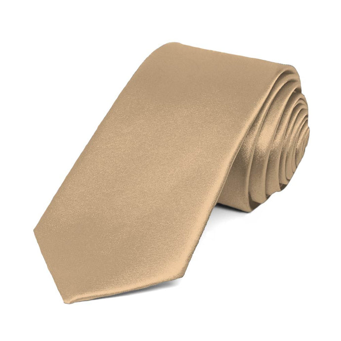 Bronze Slim Solid Color Necktie, 2.5