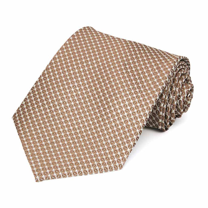 Light Brown Henry Grain Pattern Extra Long Necktie