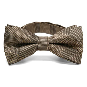 Toffee Brown Michael Glen Plaid Band Collar Bow Tie