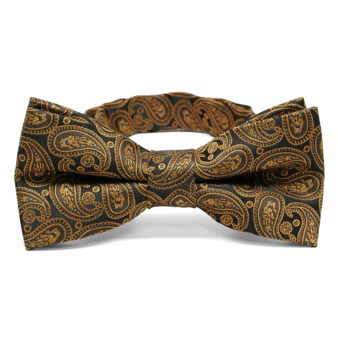 Cocoa Brown Darlene Paisley Band Collar Bow Tie