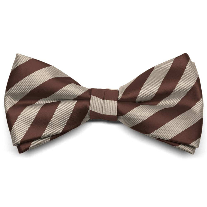 Brown and Beige Formal Striped Bow Tie