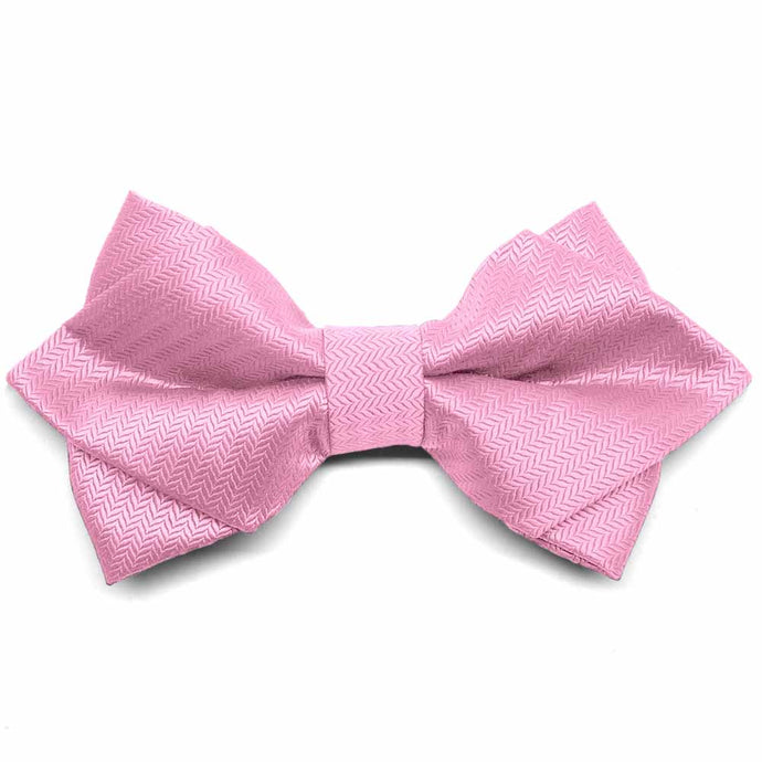 Bubblegum Pink Herringbone Diamond Tip Bow Tie