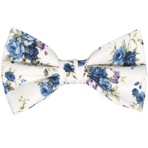 Dusty blue floral bow tie