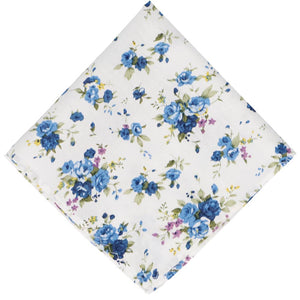 white background and blue floral pocket square