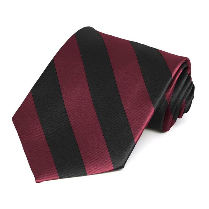 Burgundy and Black Extra Long Striped Tie