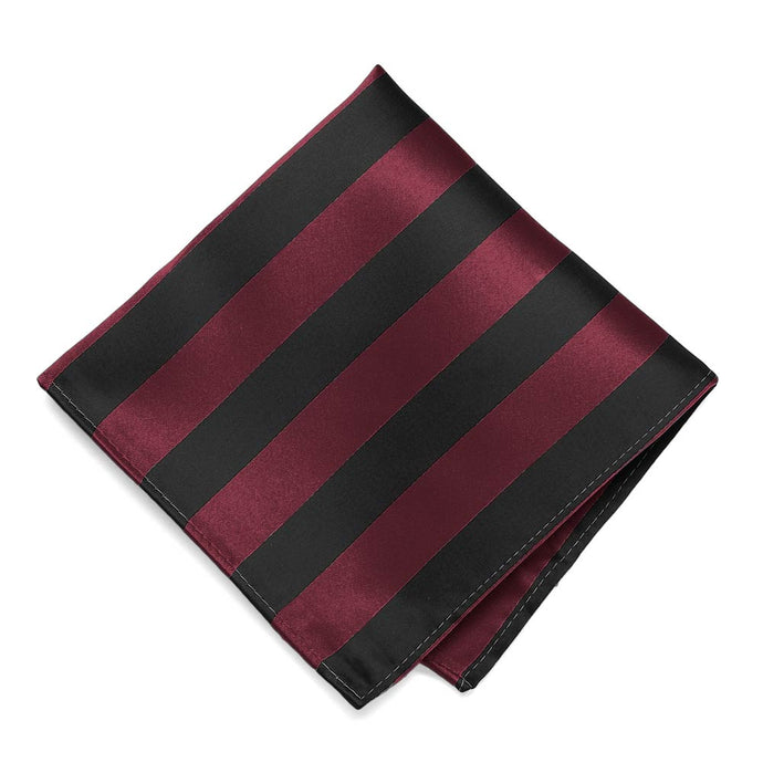 Burgundy and Black Striped Pocket Square