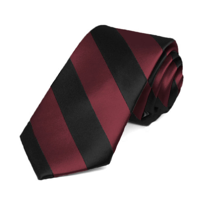 Burgundy and Black Striped Slim Tie, 2.5