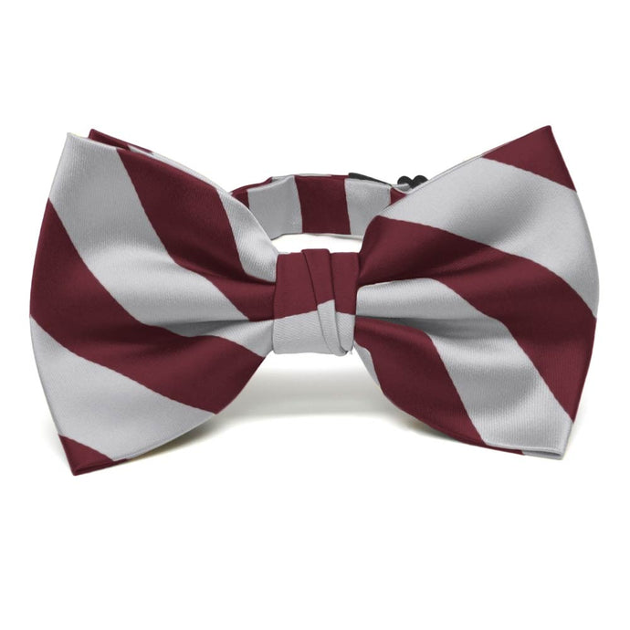 Burgundy and Silver Striped Bow Tie