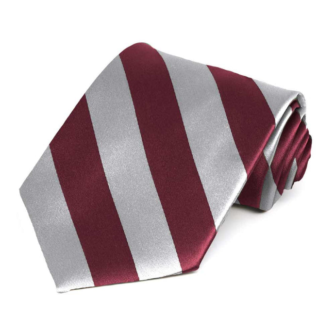 Burgundy and Silver Extra Long Striped Tie